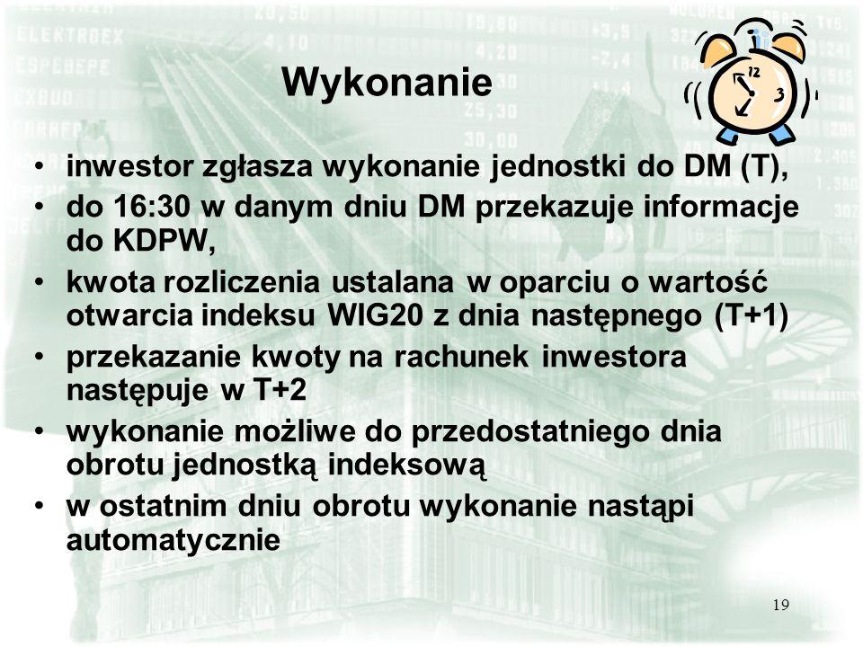 19 Wykonanie inwestor zgłasza wykonanie jednostki do DM (T), do 16:30 w danym dniu DM przekazuje informacje do KDPW, kwota rozliczenia ustalana w opar