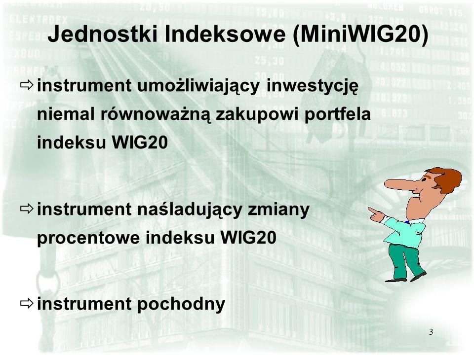 3 instrument umożliwiający inwestycję niemal równoważną zakupowi portfela indeksu WIG20 instrument naśladujący zmiany procentowe indeksu WIG20 instrum