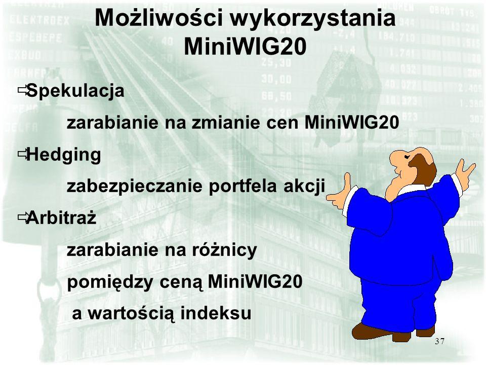 37 Możliwości wykorzystania MiniWIG20 Spekulacja zarabianie na zmianie cen MiniWIG20 Hedging zabezpieczanie portfela akcji Arbitraż zarabianie na różn