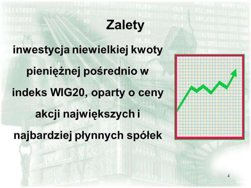 4 Zalety inwestycja niewielkiej kwoty pieniężnej pośrednio w indeks WIG20, oparty o ceny akcji największych i najbardziej płynnych spółek