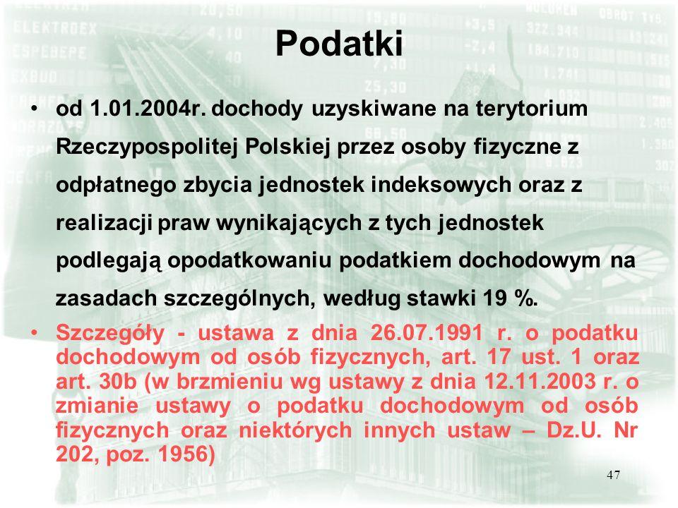 47 Podatki od 1.01.2004r. dochody uzyskiwane na terytorium Rzeczypospolitej Polskiej przez osoby fizyczne z odpłatnego zbycia jednostek indeksowych or