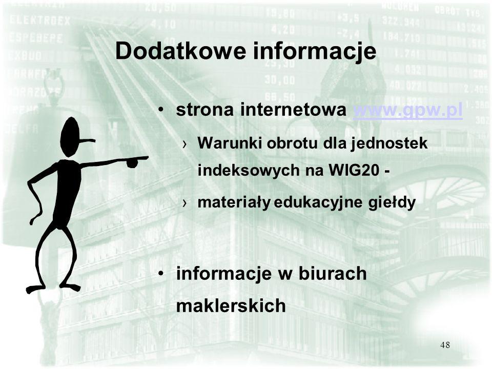 48 Dodatkowe informacje strona internetowa www.gpw.plwww.gpw.pl Warunki obrotu dla jednostek indeksowych na WIG20 - materiały edukacyjne giełdy inform