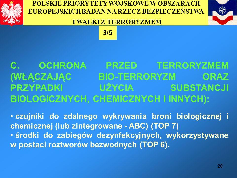 20 C. OCHRONA PRZED TERRORYZMEM (WŁĄCZAJĄC BIO-TERRORYZM ORAZ PRZYPADKI UŻYCIA SUBSTANCJI BIOLOGICZNYCH, CHEMICZNYCH I INNYCH): czujniki do zdalnego w