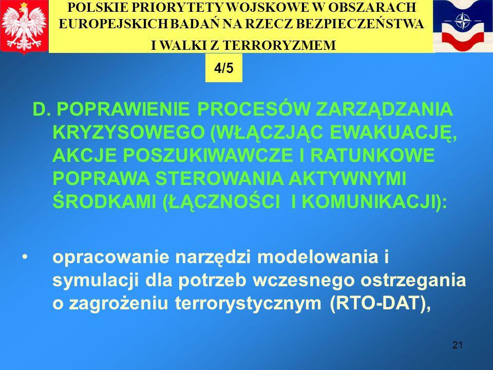21 LIST OF PRIORITY MISSIONS OF PREPARATORY ACTION AND TOP 20 POLISH MILITARY R&T NEEDS D. POPRAWIENIE PROCESÓW ZARZĄDZANIA KRYZYSOWEGO (WŁĄCZJĄC EWAK