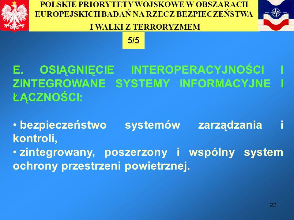 22 E. OSIĄGNIĘCIE INTEROPERACYJNOŚCI I ZINTEGROWANE SYSTEMY INFORMACYJNE I ŁĄCZNOŚCI: bezpieczeństwo systemów zarządzania i kontroli, zintegrowany, po