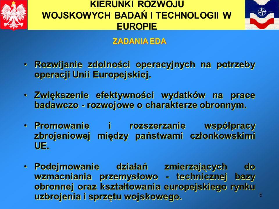 5 KIERUNKI ROZWOJU WOJSKOWYCH BADAŃ I TECHNOLOGII W EUROPIE Rozwijanie zdolności operacyjnych na potrzeby operacji Unii Europejskiej. Zwiększenie efek