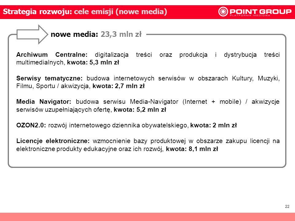 22 Strategia rozwoju: cele emisji (nowe media) nowe media: 23,3 mln zł Archiwum Centralne: digitalizacja treści oraz produkcja i dystrybucja treści mu