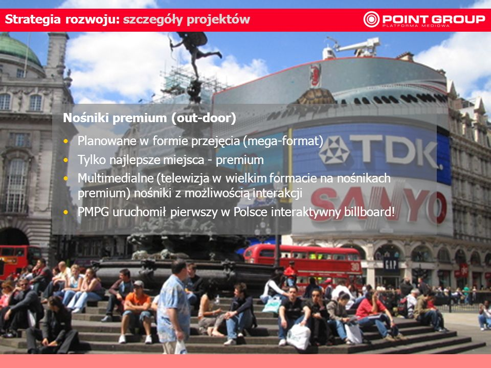 30 Strategia rozwoju: szczegóły projektów Planowane w formie przejęcia (mega-format) Tylko najlepsze miejsca - premium Multimedialne (telewizja w wiel