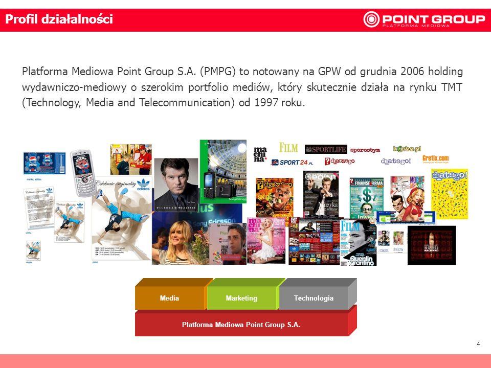 4 Platforma Mediowa Point Group S.A. (PMPG) to notowany na GPW od grudnia 2006 holding wydawniczo-mediowy o szerokim portfolio mediów, który skuteczni