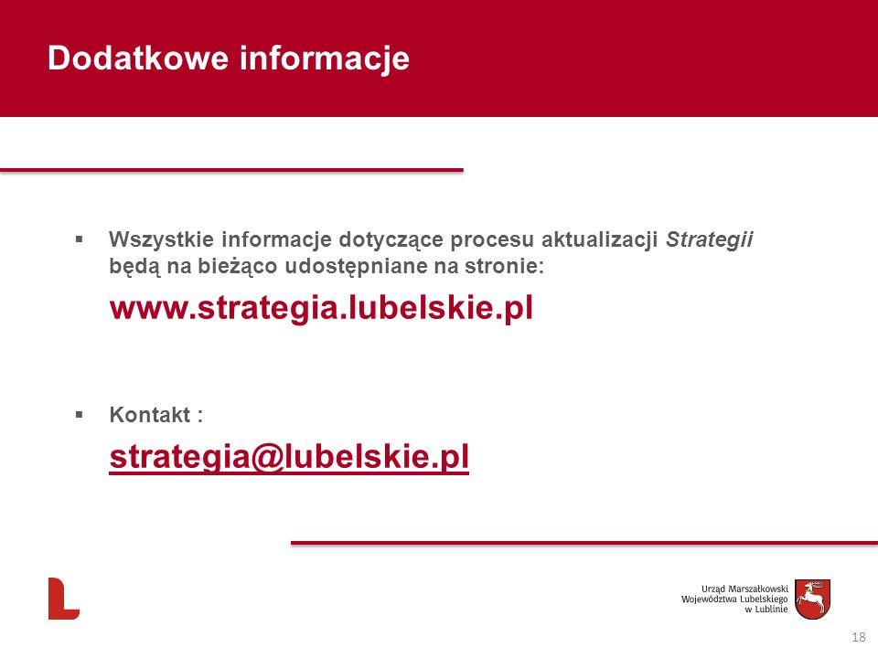 Dodatkowe informacje 18 Wszystkie informacje dotyczące procesu aktualizacji Strategii będą na bieżąco udostępniane na stronie: www.strategia.lubelskie