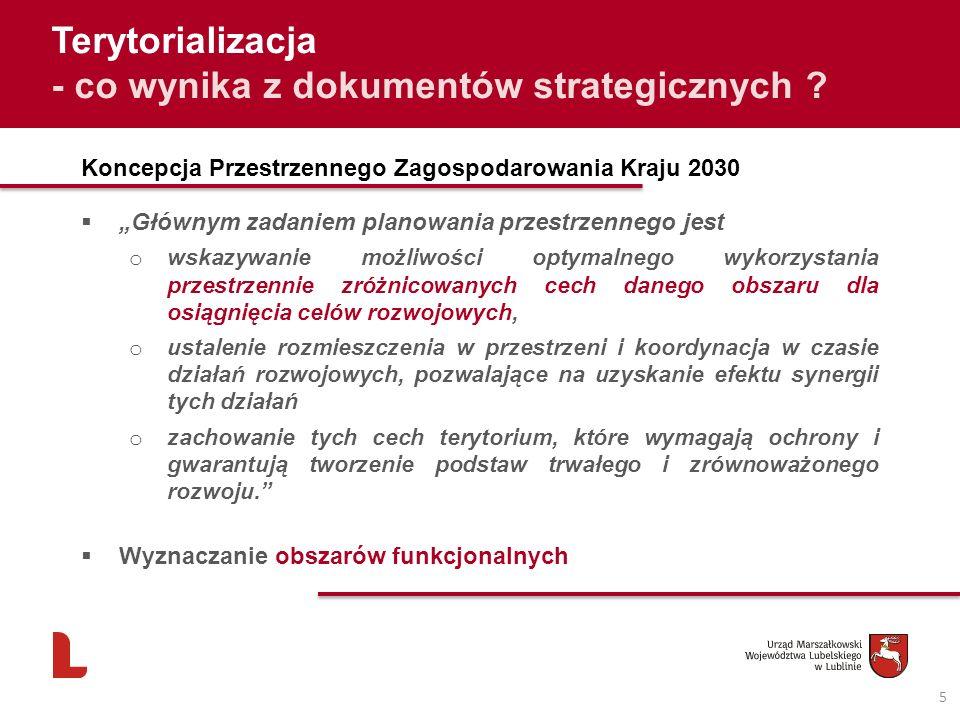 5 Terytorializacja - co wynika z dokumentów strategicznych ? Koncepcja Przestrzennego Zagospodarowania Kraju 2030 Głównym zadaniem planowania przestrz
