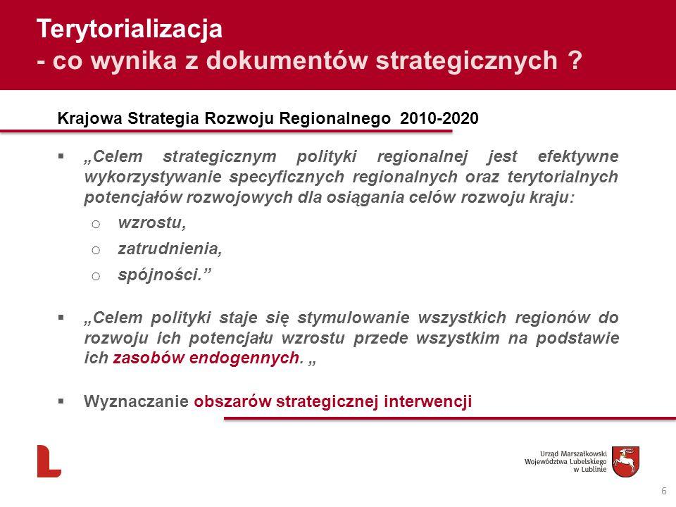 6 Terytorializacja - co wynika z dokumentów strategicznych ? Krajowa Strategia Rozwoju Regionalnego 2010-2020 Celem strategicznym polityki regionalnej