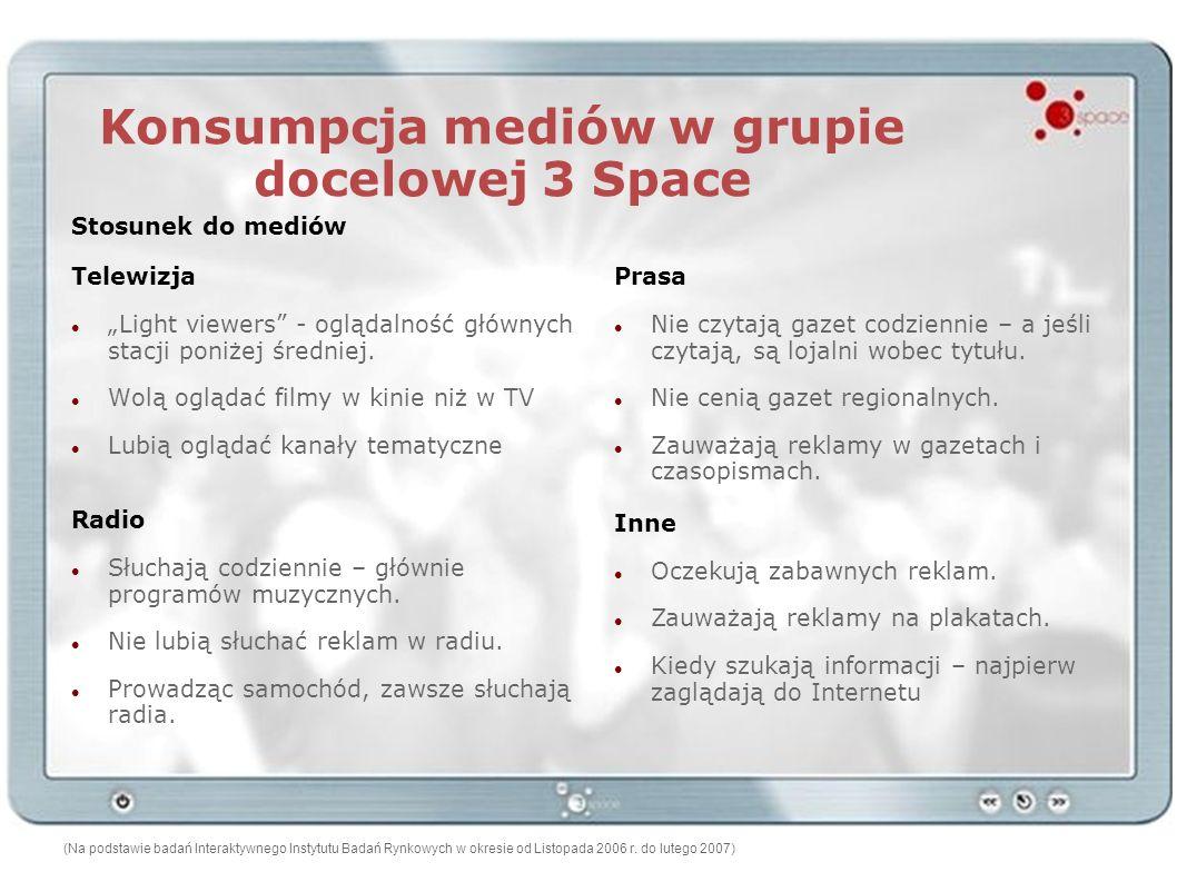 Konsumpcja mediów w grupie docelowej 3 Space Telewizja Light viewers - oglądalność głównych stacji poniżej średniej. Wolą oglądać filmy w kinie niż w