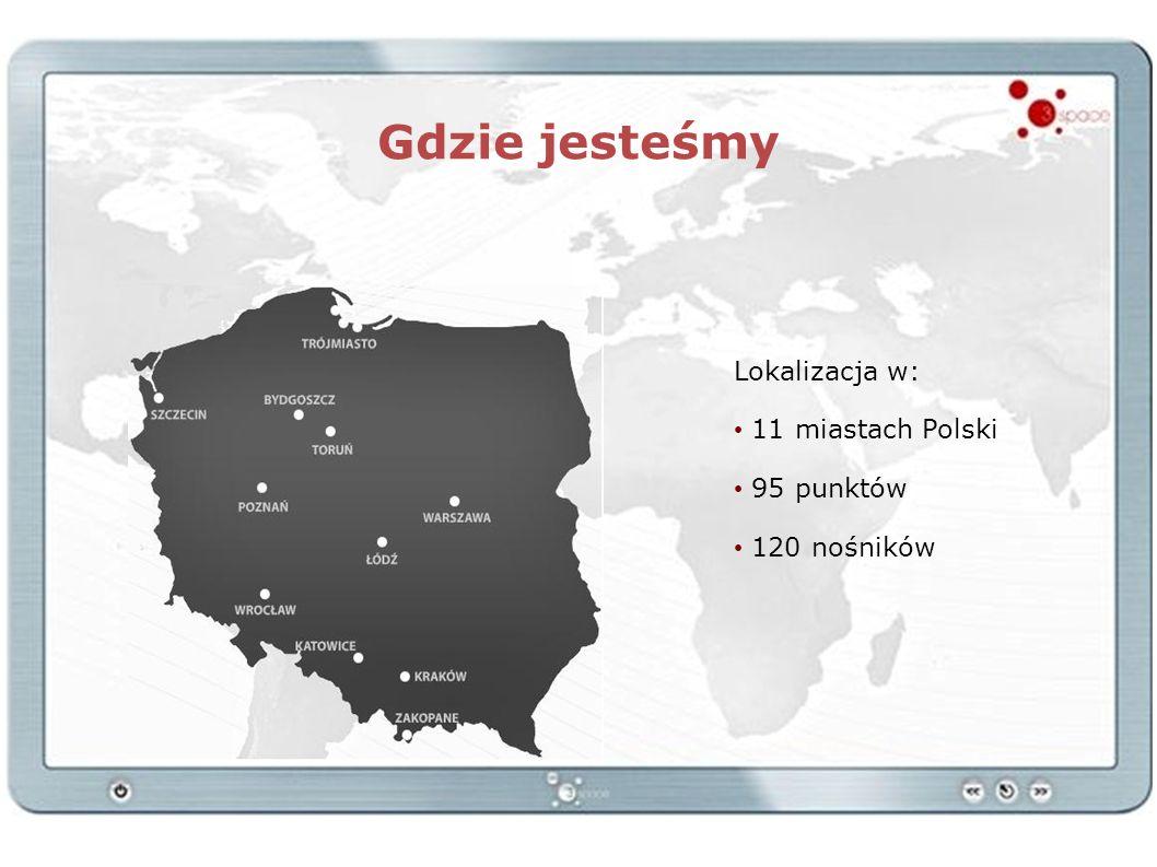 Gdzie jesteśmy Lokalizacja w: 11 miastach Polski 95 punktów 120 nośników