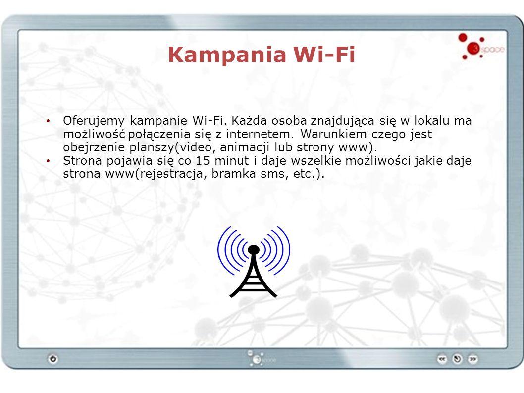 Kampania Wi-Fi Oferujemy kampanie Wi-Fi. Każda osoba znajdująca się w lokalu ma możliwość połączenia się z internetem. Warunkiem czego jest obejrzenie