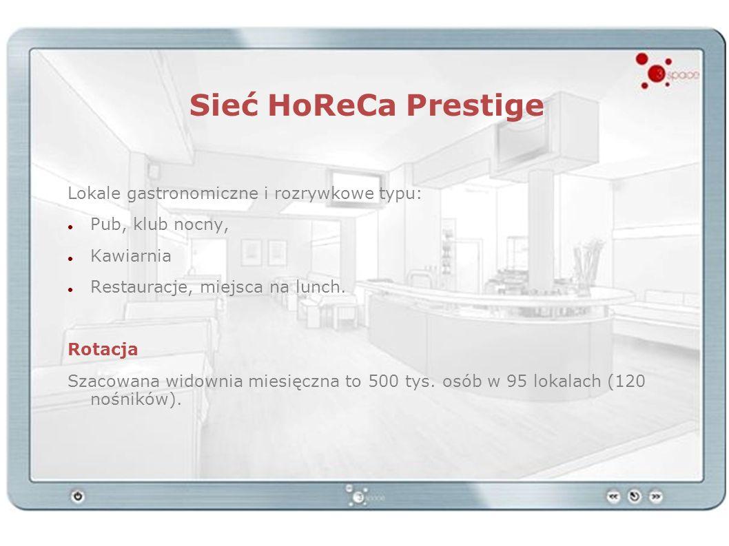 Sieć HoReCa Prestige Lokale gastronomiczne i rozrywkowe typu: Pub, klub nocny, Kawiarnia Restauracje, miejsca na lunch. Rotacja Szacowana widownia mie