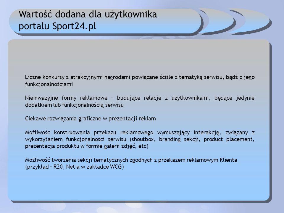 Wartość dodana dla użytkownika portalu Sport24.pl Liczne konkursy z atrakcyjnymi nagrodami powiązane ściśle z tematyką serwisu, bądź z jego funkcjonal