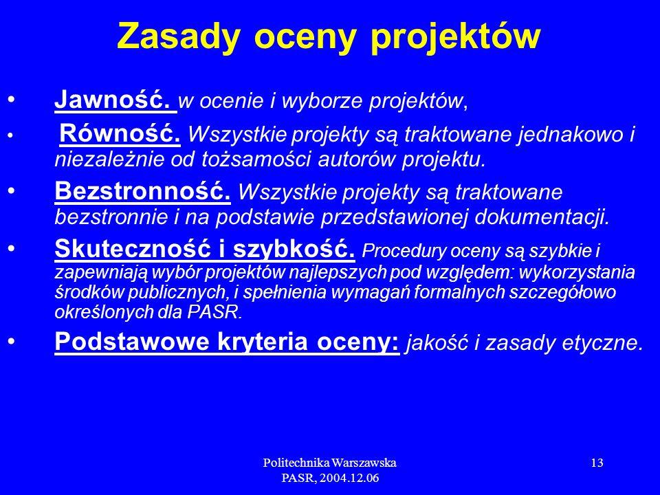 Politechnika Warszawska PASR, 2004.12.06 13 Jawność.