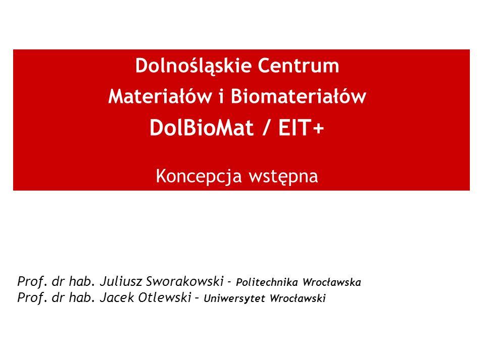Dolnośląskie Centrum Materiałów i Biomateriałów DolBioMat / EIT+ Koncepcja wstępna Prof. dr hab. Juliusz Sworakowski - Politechnika Wrocławska Prof. d