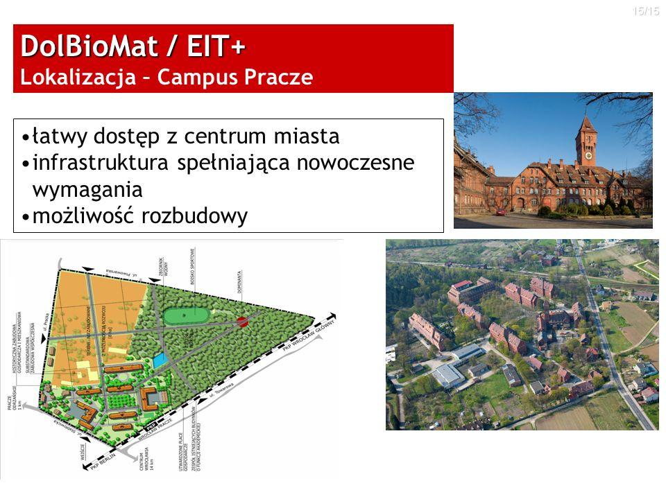 15/15 łatwy dostęp z centrum miasta infrastruktura spełniająca nowoczesne wymagania możliwość rozbudowy DolBioMat / EIT+ DolBioMat / EIT+ Lokalizacja