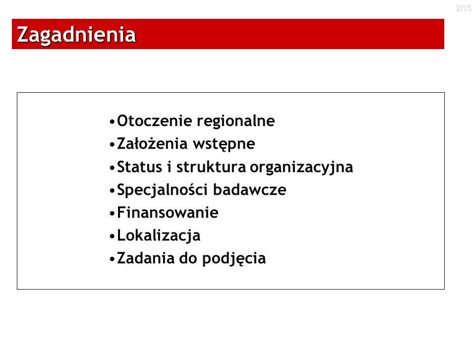 2/15Zagadnienia Otoczenie regionalne Założenia wstępne Status i struktura organizacyjna Specjalności badawcze Finansowanie Lokalizacja Zadania do podj