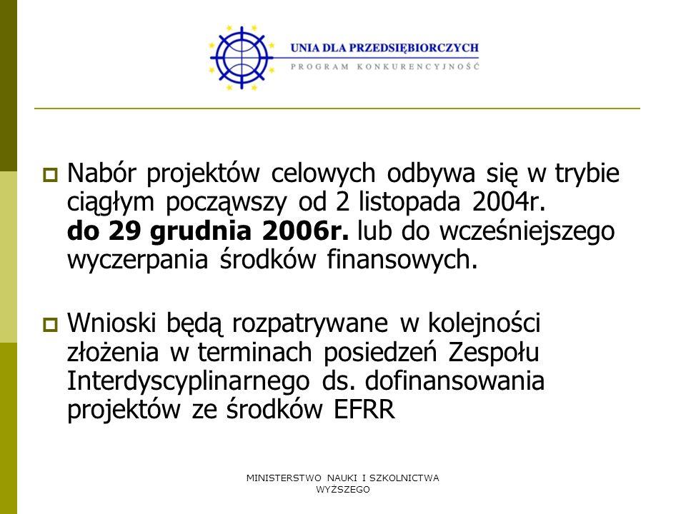 MINISTERSTWO NAUKI I SZKOLNICTWA WYŻSZEGO Nabór projektów celowych odbywa się w trybie ciągłym począwszy od 2 listopada 2004r. do 29 grudnia 2006r. lu