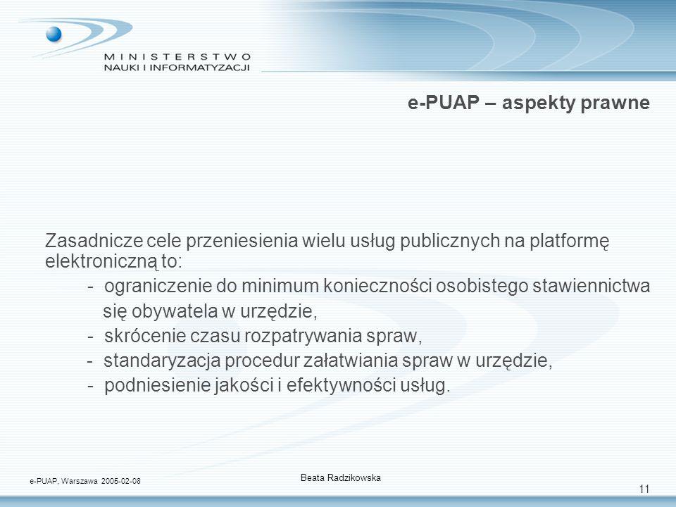 11 e-PUAP – aspekty prawne Zasadnicze cele przeniesienia wielu usług publicznych na platformę elektroniczną to: - ograniczenie do minimum konieczności osobistego stawiennictwa się obywatela w urzędzie, - skrócenie czasu rozpatrywania spraw, - standaryzacja procedur załatwiania spraw w urzędzie, - podniesienie jakości i efektywności usług.