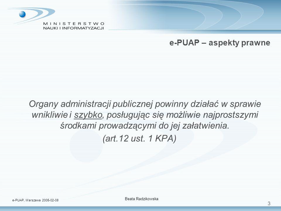 3 e-PUAP – aspekty prawne Organy administracji publicznej powinny działać w sprawie wnikliwie i szybko, posługując się możliwie najprostszymi środkami