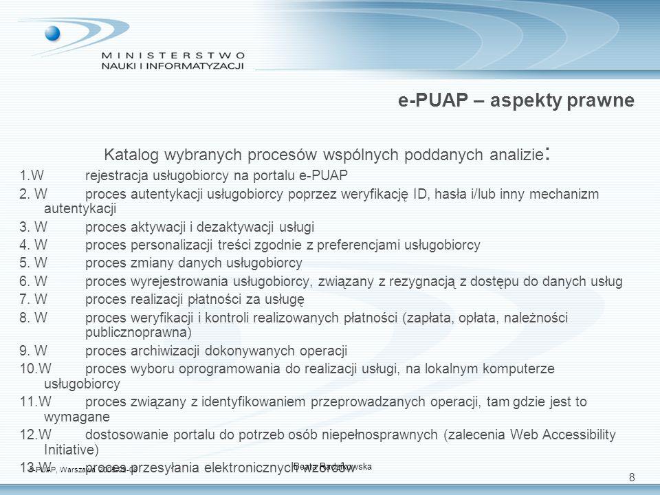 9 e-PUAP – aspekty prawne Katalog wybranych procesów realizacji usług publicznych poddanych analizie (1/2): PUB.O.1 Proces rozliczenia podatku dochodowego od osób fizycznych PUB.O.2 Proces obsługi pośrednictwa pracy PUB.0.3 Proces obsługi ubezpieczeń społecznych dla osób fizycznych PUB.0.4.