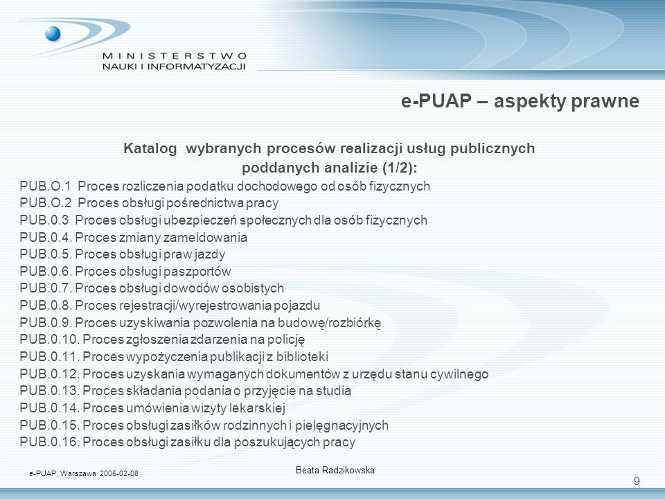 9 e-PUAP – aspekty prawne Katalog wybranych procesów realizacji usług publicznych poddanych analizie (1/2): PUB.O.1 Proces rozliczenia podatku dochodo
