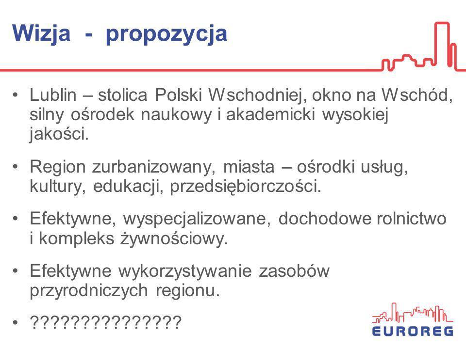 Wizja - propozycja Lublin – stolica Polski Wschodniej, okno na Wschód, silny ośrodek naukowy i akademicki wysokiej jakości. Region zurbanizowany, mias