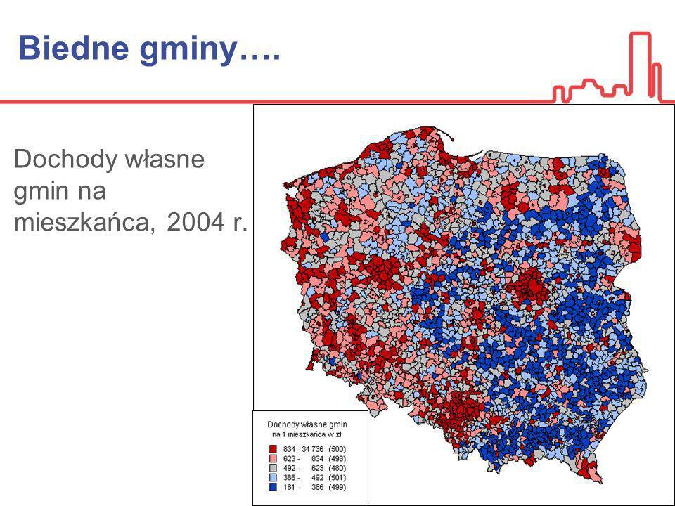 Biedne gminy…. Dochody własne gmin na mieszkańca, 2004 r.