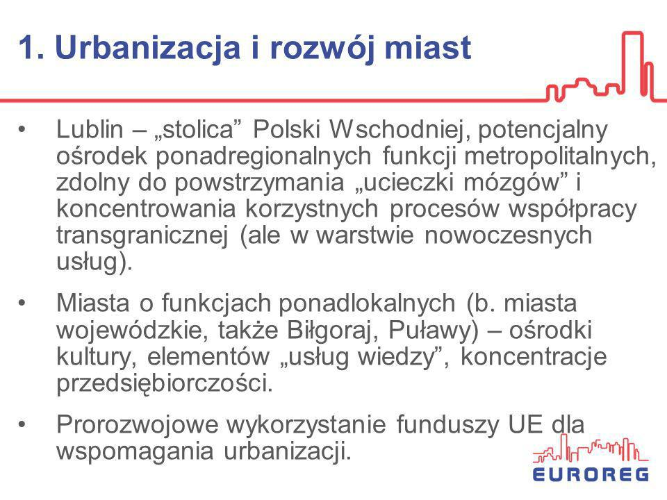1. Urbanizacja i rozwój miast Lublin – stolica Polski Wschodniej, potencjalny ośrodek ponadregionalnych funkcji metropolitalnych, zdolny do powstrzyma