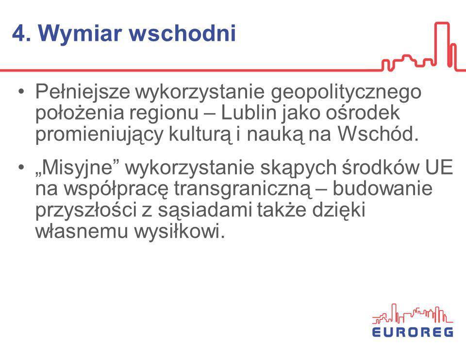 4. Wymiar wschodni Pełniejsze wykorzystanie geopolitycznego położenia regionu – Lublin jako ośrodek promieniujący kulturą i nauką na Wschód. Misyjne w