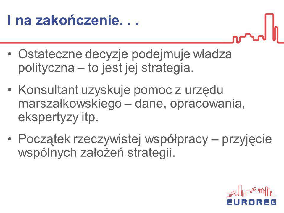 I na zakończenie... Ostateczne decyzje podejmuje władza polityczna – to jest jej strategia. Konsultant uzyskuje pomoc z urzędu marszałkowskiego – dane
