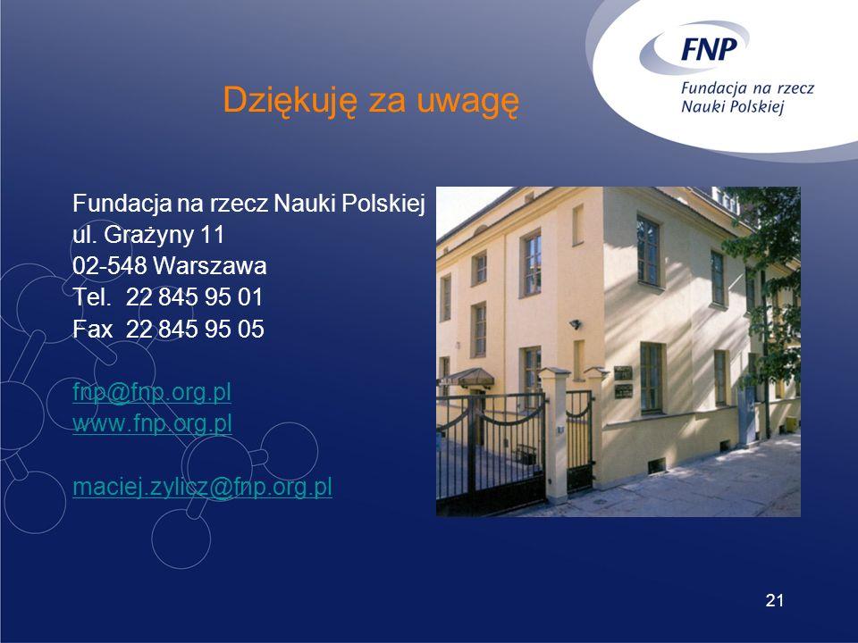 21 Dziękuję za uwagę Fundacja na rzecz Nauki Polskiej ul.