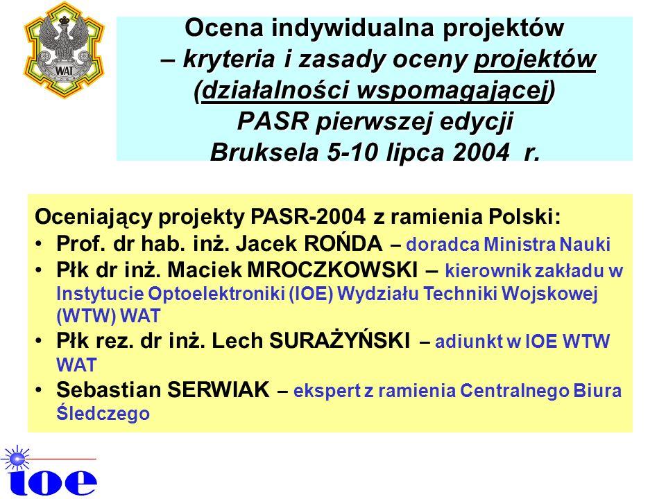 Ocena indywidualna projektów – kryteria i zasady oceny projektów (działalności wspomagającej) PASR pierwszej edycji Bruksela 5-10 lipca 2004 Ocena ind