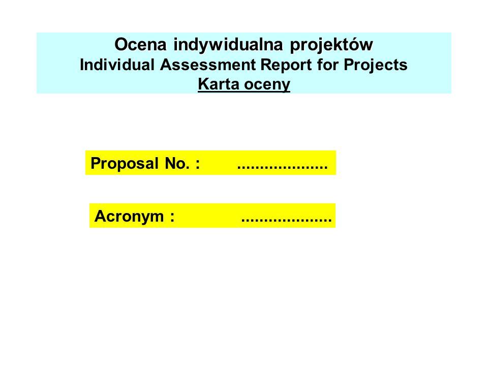 Ocena indywidualna projektów Ocena indywidualna projektów Individual Assessment Report for Projects Karta oceny Acronym :.................... Proposal