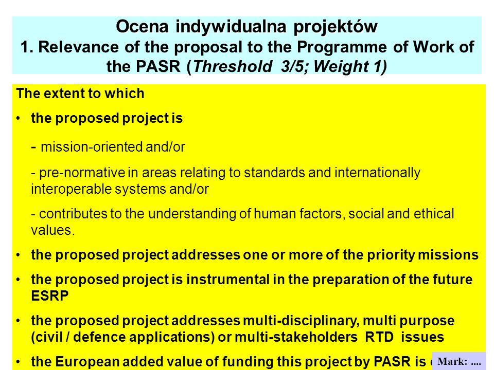 Ocena indywidualna projektów Ocena indywidualna projektów 1. Relevance of the proposal to the Programme of Work of the PASR (Threshold 3/5; Weight 1)