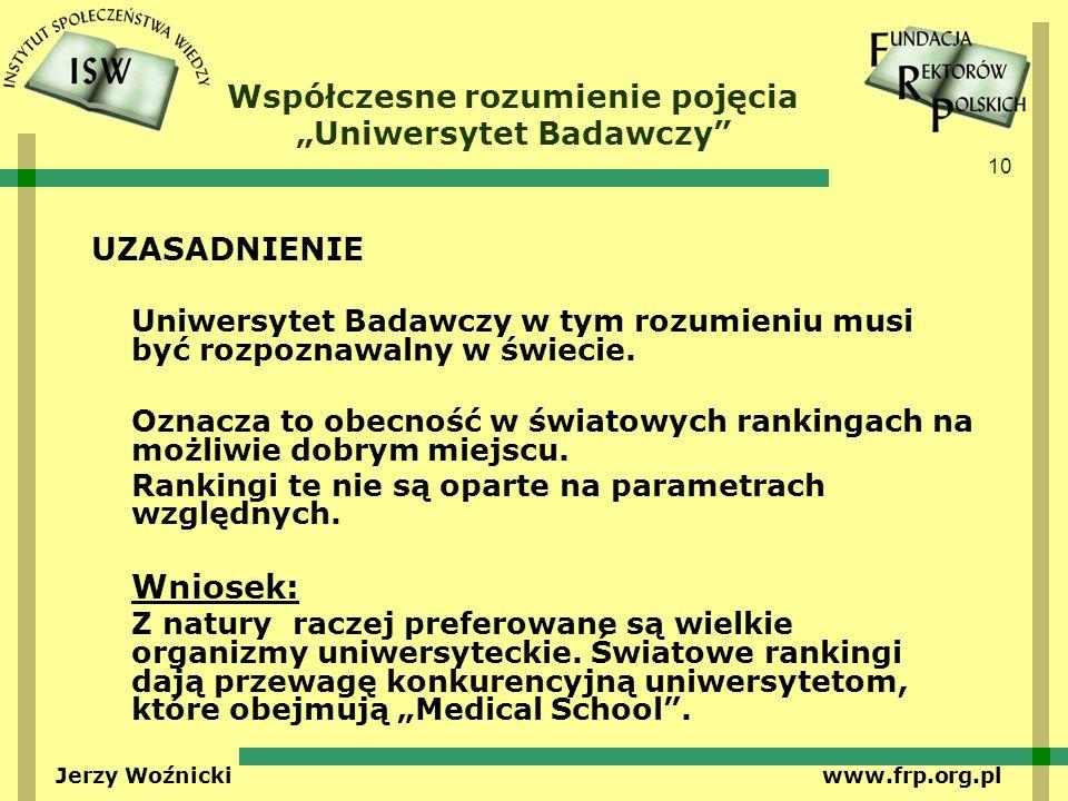 10 Jerzy Woźnicki www.frp.org.pl Współczesne rozumienie pojęcia Uniwersytet Badawczy UZASADNIENIE Uniwersytet Badawczy w tym rozumieniu musi być rozpoznawalny w świecie.