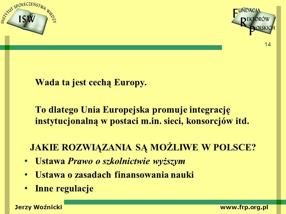 14 Jerzy Woźnicki www.frp.org.pl Wada ta jest cechą Europy. To dlatego Unia Europejska promuje integrację instytucjonalną w postaci m.in. sieci, konso