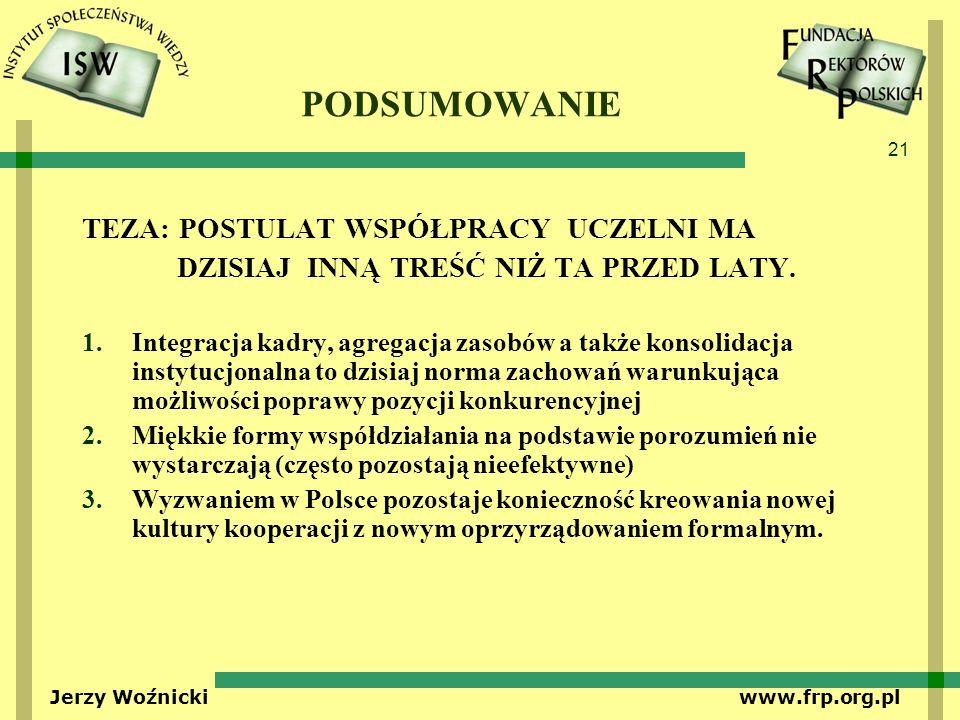 21 Jerzy Woźnicki www.frp.org.pl PODSUMOWANIE TEZA: POSTULAT WSPÓŁPRACY UCZELNI MA DZISIAJ INNĄ TREŚĆ NIŻ TA PRZED LATY. 1.Integracja kadry, agregacja