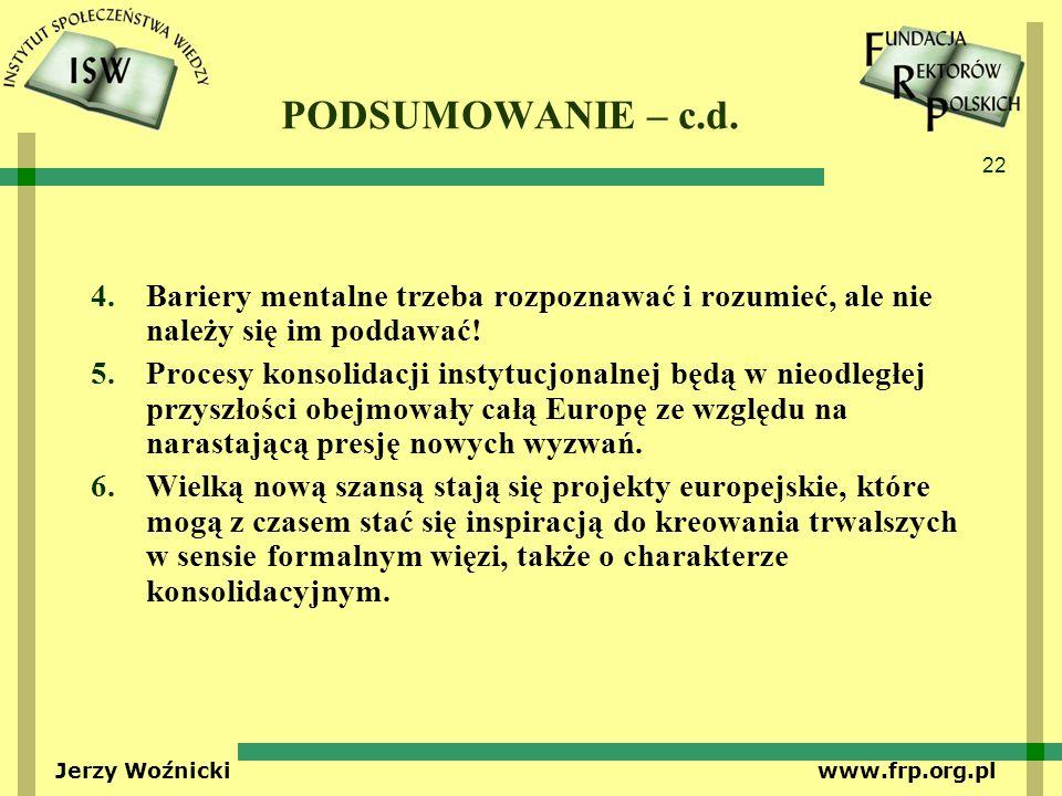 22 Jerzy Woźnicki www.frp.org.pl PODSUMOWANIE – c.d. 4.Bariery mentalne trzeba rozpoznawać i rozumieć, ale nie należy się im poddawać! 5.Procesy konso