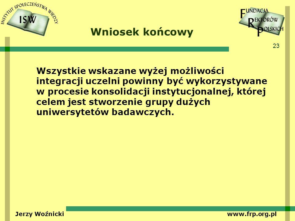 23 Jerzy Woźnicki www.frp.org.pl Wniosek końcowy Wszystkie wskazane wyżej możliwości integracji uczelni powinny być wykorzystywane w procesie konsolidacji instytucjonalnej, której celem jest stworzenie grupy dużych uniwersytetów badawczych.