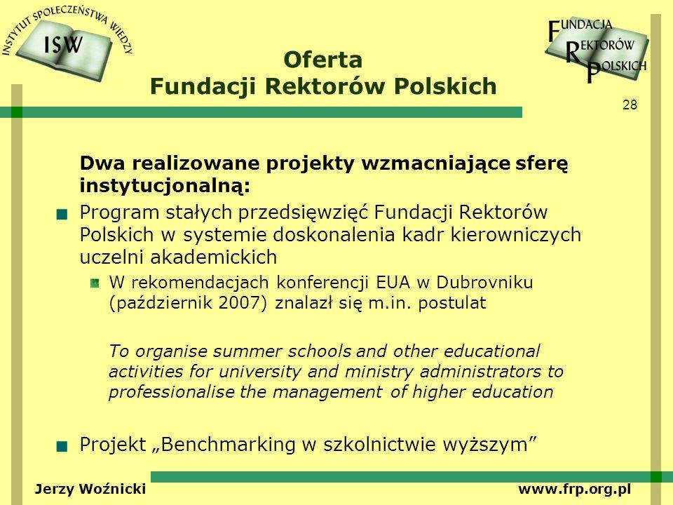 28 Jerzy Woźnicki www.frp.org.pl Oferta Fundacji Rektorów Polskich Dwa realizowane projekty wzmacniające sferę instytucjonalną: Program stałych przeds