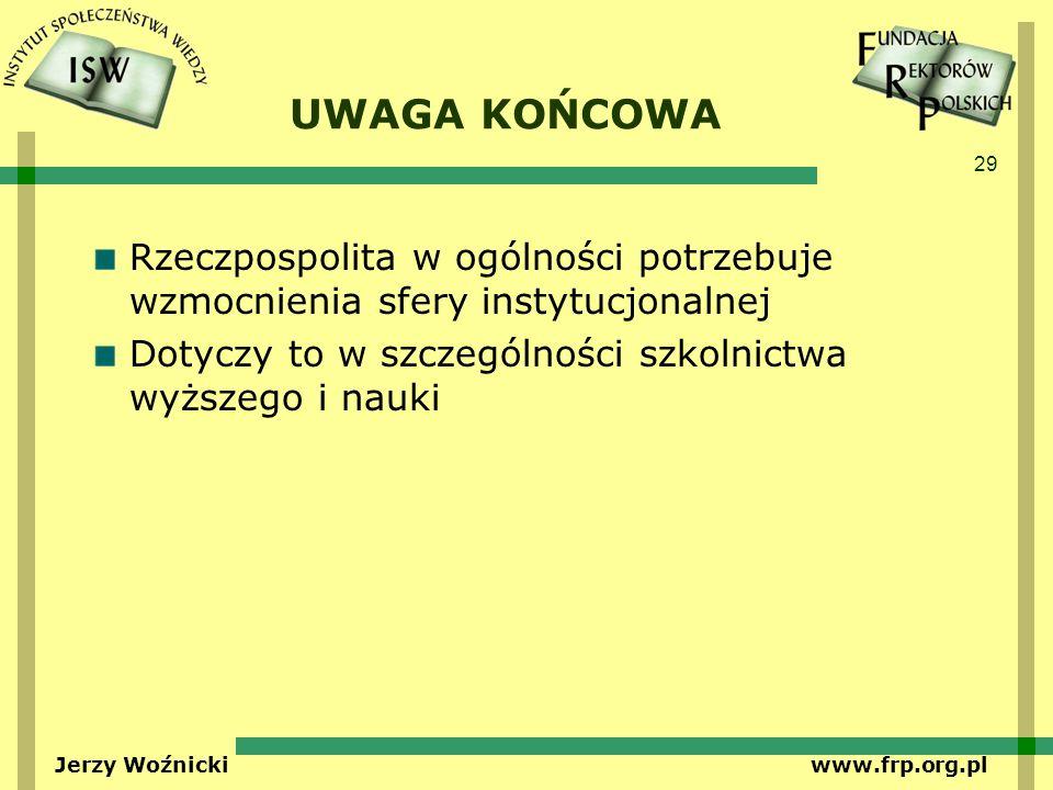 29 Jerzy Woźnicki www.frp.org.pl UWAGA KOŃCOWA Rzeczpospolita w ogólności potrzebuje wzmocnienia sfery instytucjonalnej Dotyczy to w szczególności szk