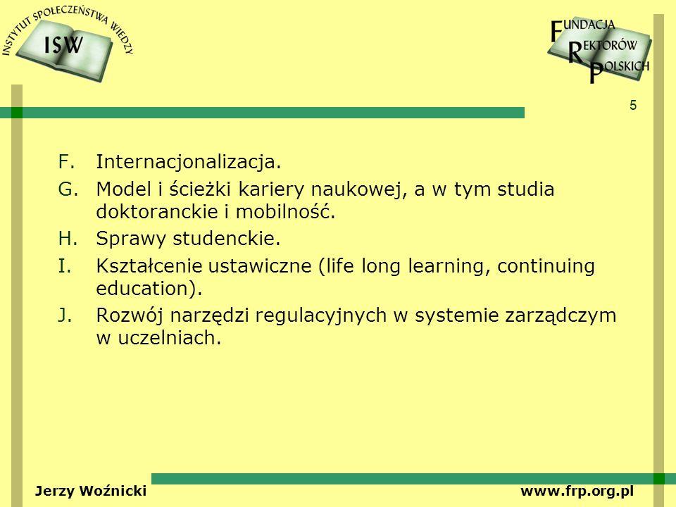 5 Jerzy Woźnicki www.frp.org.pl F.Internacjonalizacja. G.Model i ścieżki kariery naukowej, a w tym studia doktoranckie i mobilność. H.Sprawy studencki