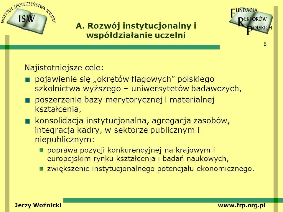 8 Jerzy Woźnicki www.frp.org.pl A. Rozwój instytucjonalny i współdziałanie uczelni Najistotniejsze cele: pojawienie się okrętów flagowych polskiego sz