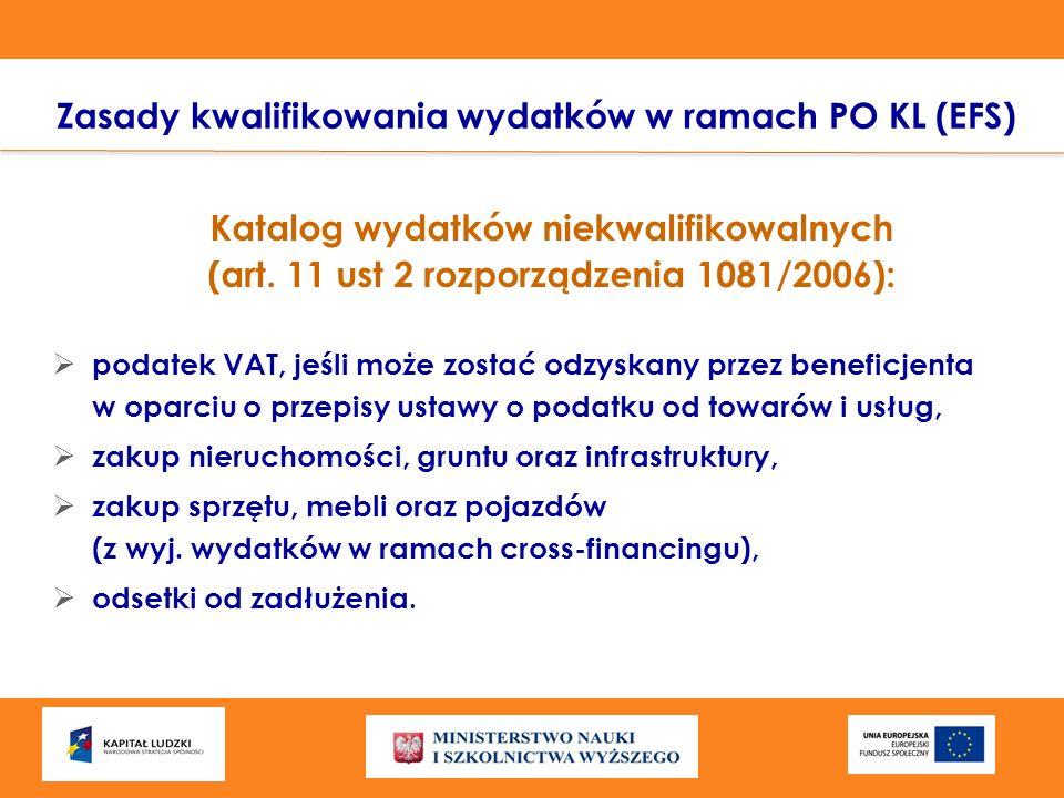 Katalog wydatków niekwalifikowalnych (art. 11 ust 2 rozporządzenia 1081/2006): podatek VAT, jeśli może zostać odzyskany przez beneficjenta w oparciu o