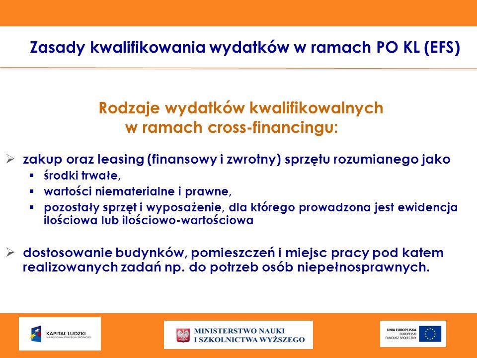 Rodzaje wydatków kwalifikowalnych w ramach cross-financingu: zakup oraz leasing (finansowy i zwrotny) sprzętu rozumianego jako środki trwałe, wartości